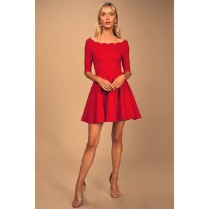 NWT $48 Lulu's Tip The Scallops Red Skater Dress